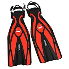 SEAC Unisex's Vela OH, Snorkeling and Pool Swimming Short Fins with Adjustable Strap, ,red,L/XL