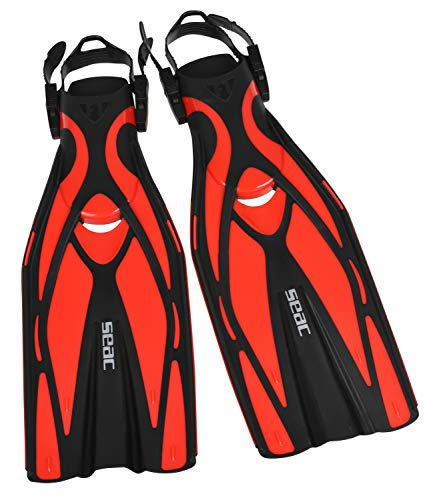 Seac Unisex– Erwachsene F1 Ultra Light Underwater Fins, only 730 Grams for High Performance in Diving, Adjustable Strap, rot, M/L