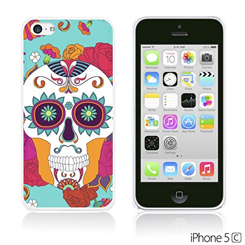 OBiDi - Flower Pattern Hardback Case / Housse pour Apple iPhone 5C - Watercolor Flower Print Red Rose With Skull