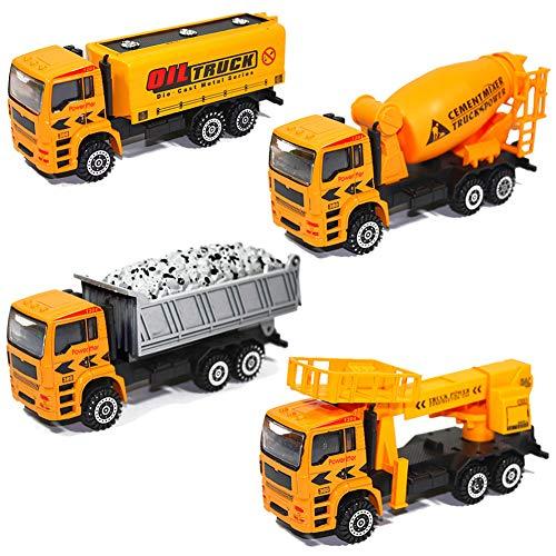 HERSITY Camion de Chantier Véhicule de Construction Jouet Cadeau pour Enfants (4 Pièces)