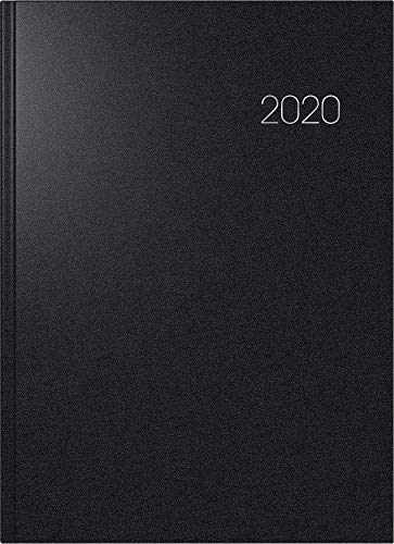 BRUNNEN 107876090 Buchkalender Modell 787 (A 4, 1 Seite = 1 Tag, 21,0 x 29,7 cm, Balacron-Einband, Kalendarium 2020) schwarz