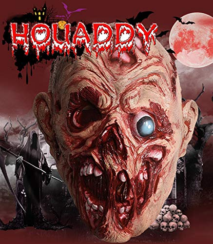 HOUADDY Zombie Latex Horror Maske blutig gruselig Masken Halloween Ghost Maske eigentümlich Cosplay Party Supplies Kostüm Party voller Kopf Monster Maske Maskerade Erwachsenen Requisiten (Beängstigende Kürbis Kopf Kostüm)