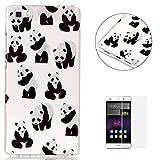Coque Huawei P8 Lite 2016 Housse Cas (Gratuit Protecteur d'écran) KaseHom Cristal Caoutchouc Couverture Bling Brillant Flash Poudre Conception Doux TPU Gel de silicone Peau Transparent Antichoc coquille-Panda