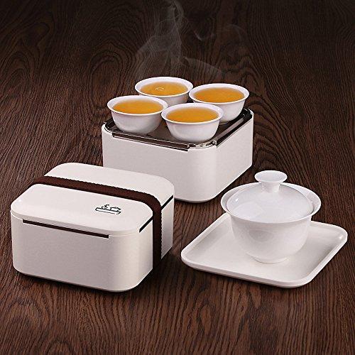 TAMUME Tragbare Kung Fu Porzellanteesatz Reise Tee-Set - 1 Porzellan Teekanne, 4 Tassen, weiß - Tee-set Aus Weißem Porzellan
