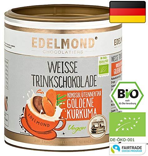 """Edelmond Bio """"Goldene Milch"""" mit frischer Kurkuma Wurzel. Bio verfügbar durch Piperin. Kein Pulver, mit Kokosblütennektar, ohne Zucker. 250gr."""