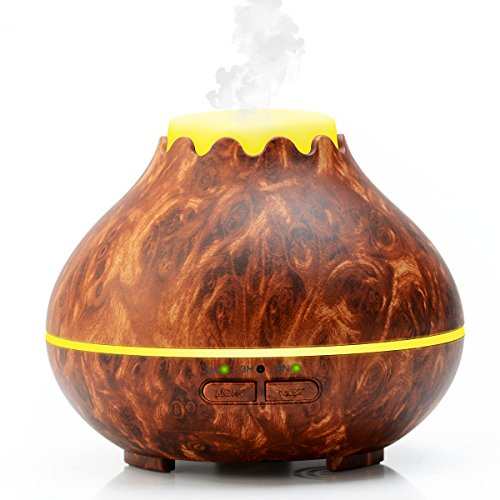 Ultrasonic-Humidifier-Wood-Grain-Essential-Oil-Aroma-Diffuser-Whisper-Quiet-Cool-Mist-with-7Color-LED-Light-Changing-and-3-Timer-Settings-Waterless-Auto-Shut-off-Adjustable-Mist-mode-150ML-wood-grain