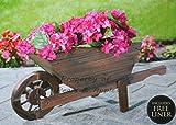Carretilla-macetero decorativo de madera para jardín