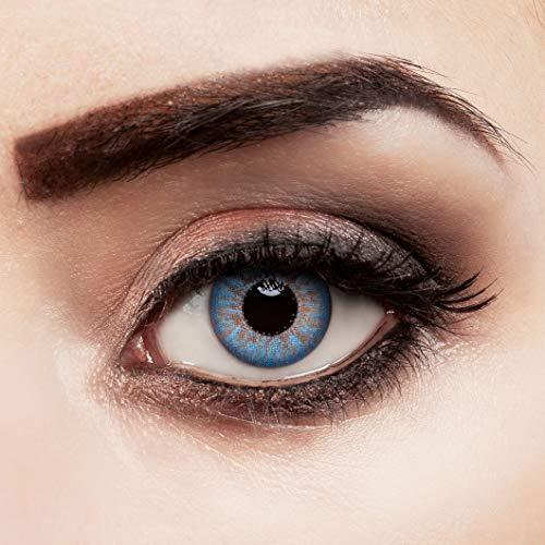 aricona Kontaktlinsen farbig blau ohne Stärke Jahreslinsen stark deckend 2 Stück