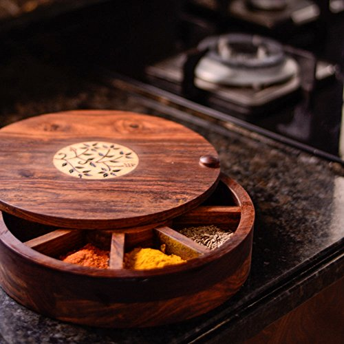 ExclusiveLane Sheesham Wood Spice Box With Floral Work - Masala Container / Spice Rack / Spice Holder