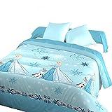 Blau Câlin Bettbezug Disney Eiskönigin, 140x 200cm 1Person, Blau/Weiß, französisches Produkt, dri301400ELSA