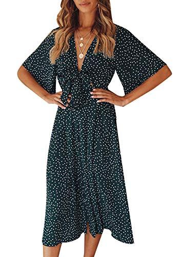 Yidarton Sommerkleid Damen V-Ausschnitt Polka Dot Midikleid Knielänge Vintage Boho Kurzarm Strandkleider (Dunkel Grün, L) -
