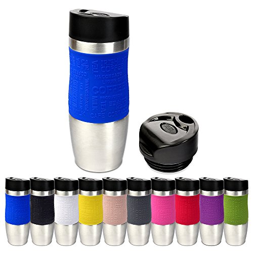 er in 10 Farben inkl. Ersatzdeckel Isolierbecher ca. 400ml Thermoisolierbecher Kaffeebecher Travel Mug Reisebecher BPA-frei Coffee to go Becher, Farbe:blau ()