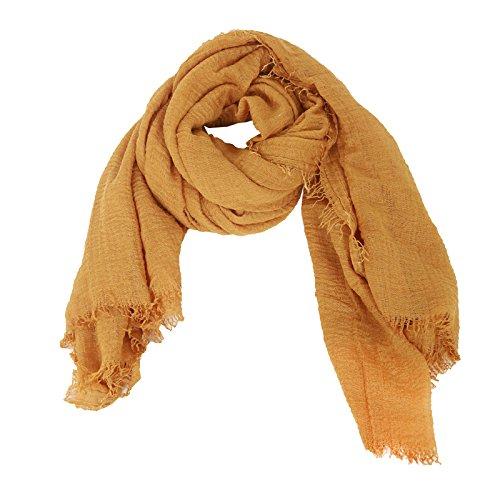 DAYFA Klassisch einfarbiger Viscose Schal hochwertig,leicht Crinkle Tuch,Unisex SH0411 (Senfgelb)