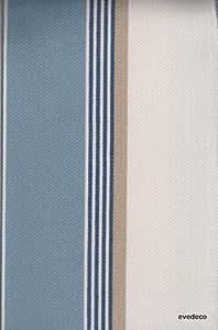 Amario Tissu ameublement coton rayures bleu par Thevenon au metre