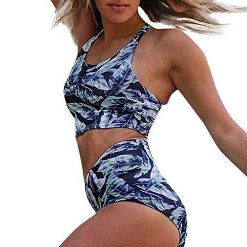 ❤Loveso❤ Damen Bikini Set Vintage Bademode Push Up Zweiteilig Sommer Sportliches Bademode Strand Bikini in Viele 9 Farben Zweiteiliger Bikini (Tank Top + Bikinihose)