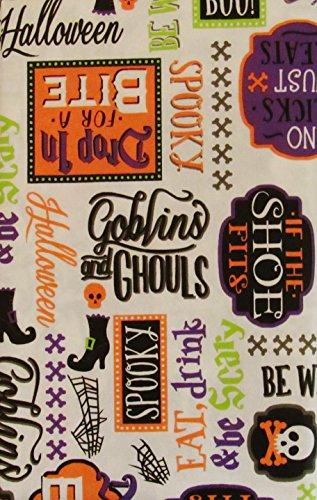 Halloween werden Witchy Goblins und Ghouls Spuk-Symbole und Sentiments Vinyl Tischdecke Flanell Rückseite, Vinyl, White Background, 52