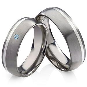 frencheis Titanringe Verlobungsringe Eheringe Trauringe Hochzeitsringe aus Titan mit 925 Silber und Blautopas Gravur HT13