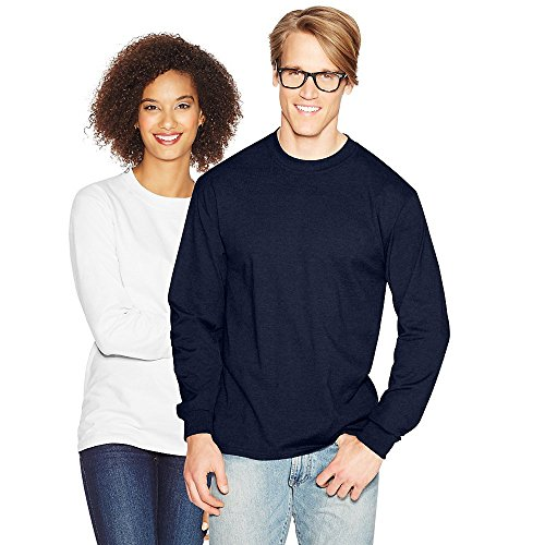 Hanes Adult Beefy-T Long-Sleeve T-Shirt, Ash, 2XL Navy