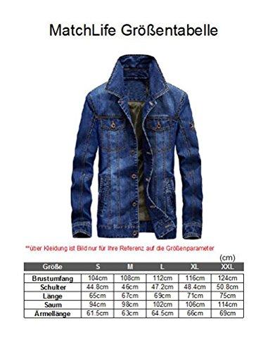 MatchLife Herren Herbst Winter Jeansjacke Classic Jacke Style1-Dunkelblau