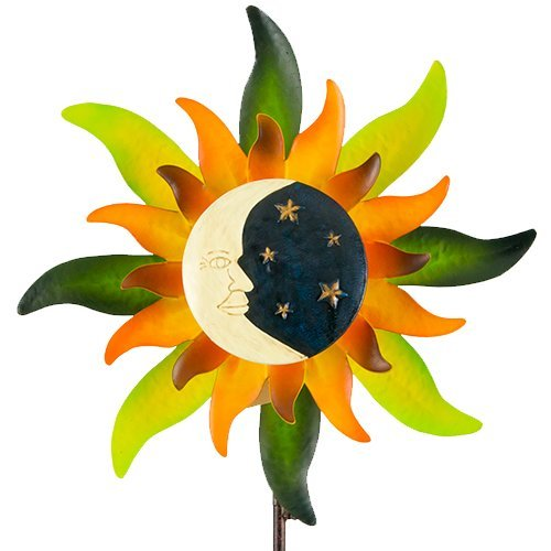 colourliving Windrad aus Metall Windspiel Sunface Moonlight mit Kugellager leicht drehend Gartendeko