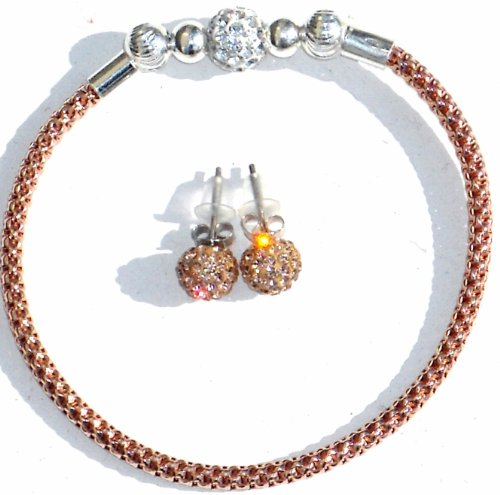 ROSE GOLD PLATED SILVER GLITTER BALL BRACELET, A PAIR OF SPARKLY MATCHING CRYSTAL BALL EARRINGS
