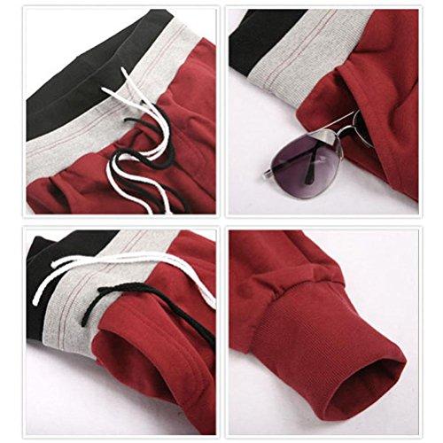 Amlaiworld Pantaloni in felpa uomo eleganti corti sportivi pantaloni Rosso