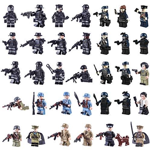 MAJOZ 34 Piezas Militar Mini Figuras Personalizadas - Equipo SWAT Policía Figuras Paquete de Armas Bloque de construcción para Niños y Adultos