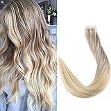 Full Shine 18 Zoll 20 Stuck 50g Per Package Balayage Haarfarbe #18 Fading to #22 and #60 Dip Dye Remy Straight Haar Extensions Echthaar Verlangerung Tape on Klebestreifen