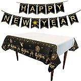 Sayala Silvester Party Deko Set 2020,Schwarz Gold Frohes Jahr Tischdecke Frohes Jahr Banner Girlande Dekorationen für Neujahr Silvesterdeko Neujahrsdeko