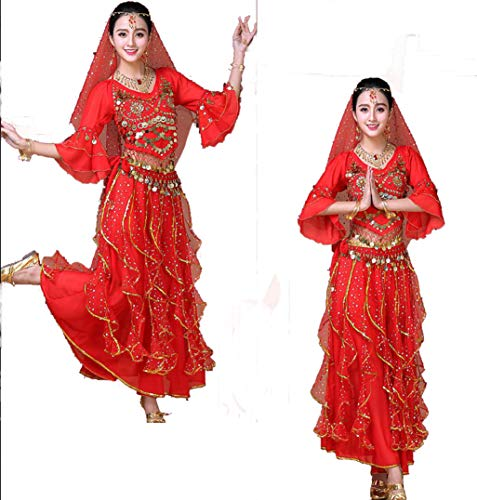 SMACO Kleider6-teiliges indisches Tanzkostüm Bauchtanz-Set Bühnenshow-Kostüm weiblicher Erwachsener,Red (Weibliche Indische Kostüme)