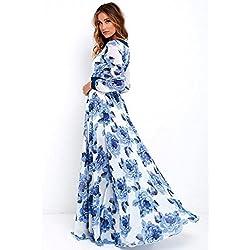 K-youth Vestido para Mujer, Vestidos De Fiesta Mujer Largos Elegantes Atractivo Cuello en V Profundo Estampado Flor Azul Marino Vestidos de Mujer Cóctel Fiesta Manga Larga (Azul, L)