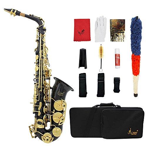 ammoon Saxophon Eb e-flat Hoch Messing Gravur Tasten Shell des Olmo Blasinstrument mit Etui Handschuhe Reinigungstuch Fett Gurt Bürste