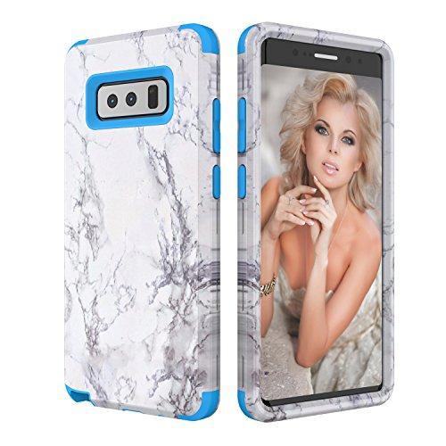 Galaxy Note 8 Hülle, Asstar 3 in 1 [Weiches Silikon + Harter PC] Einzigartiges Marmor-Design Anti-Kratzer Stoßfest Anti-Finger Schutzhülle für Samsung Galaxy Note 8 2017 blau (Otterbox Samsung Tablet Tasche)
