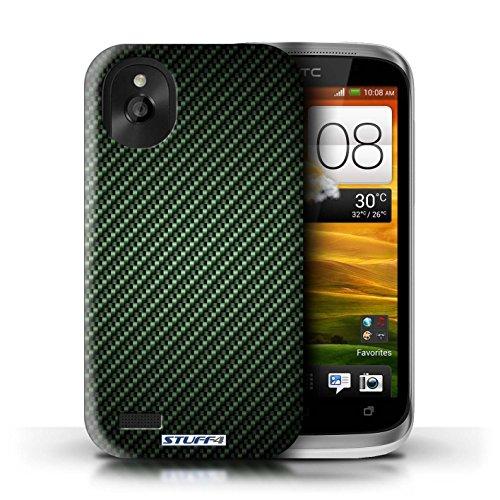 Kobalt® Imprimé Etui / Coque pour HTC Desire X / Pourpre conception / Série Motif de Fibre de Carbone Vert
