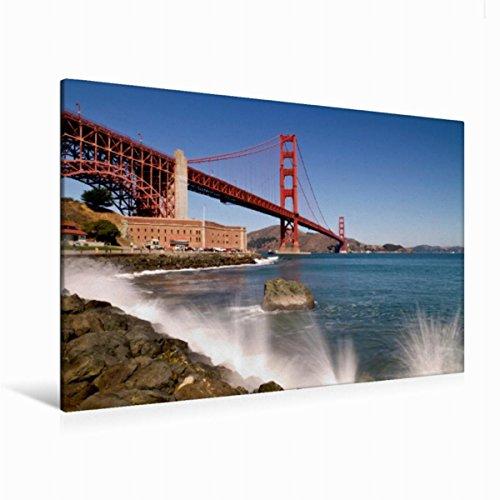 Calvendo Premium Textil-Leinwand 120 cm x 80 cm quer Faszinierende Golden Gate Bridge | Wandbild, Bild auf Keilrahmen, Fertigbild auf echter Leinwand. Wahrzeichen von San Francisco Orte Orte