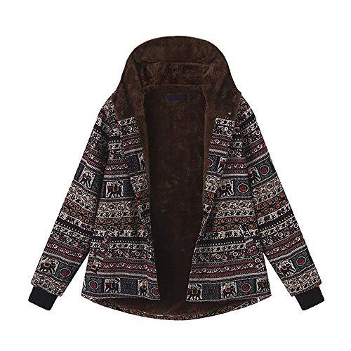 KaloryWee Damen Winterjacke Mantel Strickjacke Übergröße Jacke Hoodie Pullover Frauen mit Kapuze Langarm Baumwolle Leinen Flauschigen Pelz Reißverschluss Outwear S-5XL