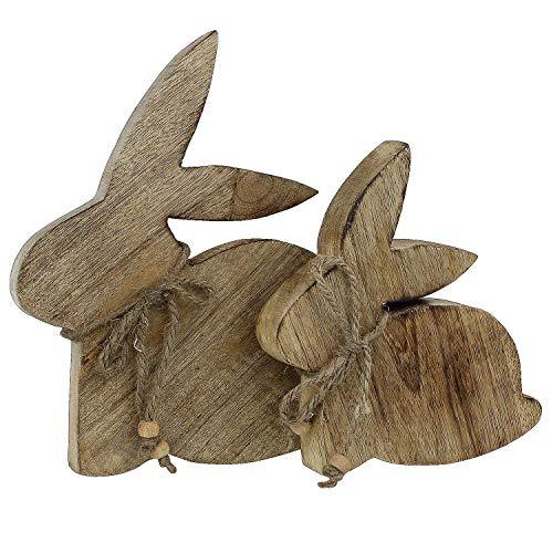 MACOSA GW1002355 - Decorazione in Legno a Forma di Coniglietto Pasquale, Set da 2 Pezzi, in Legno di Mango