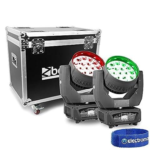 Beamz Professional 150.522 MHL1915 LED Zoom Moving Head Lights in Flightcase