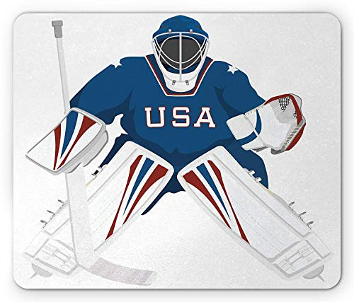 Sports Mouse Pad, USA Hockey Goalie Protection Jersey Sport Wear Activity Hobby Illustration, Standard Size Rectangle Non-Slip Rubber Mousepad, Burgundy Blue White 9.8 X 11.8 Inch