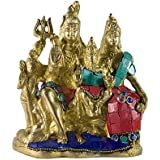 [Sponsored]Craftspark Antique Shiv Ji Family Shiva Parvati & Ganesh Handcrafted Stone Work Multi Colour Brass Metal With Golden Finish Statue/Idol/ Figurine/ Showpiece For Home Decor/ Religious Gifts/ Pooja And Temple / Mandir (weight 1260gm)