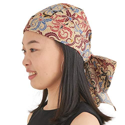 Damen Bohemien Bandana Kopftuch Headwrap - Herren Chemotherapie Turban Cap Zigeuner Piratenkostüm Urlaub Strand Zubehör für den Sommer C Beige