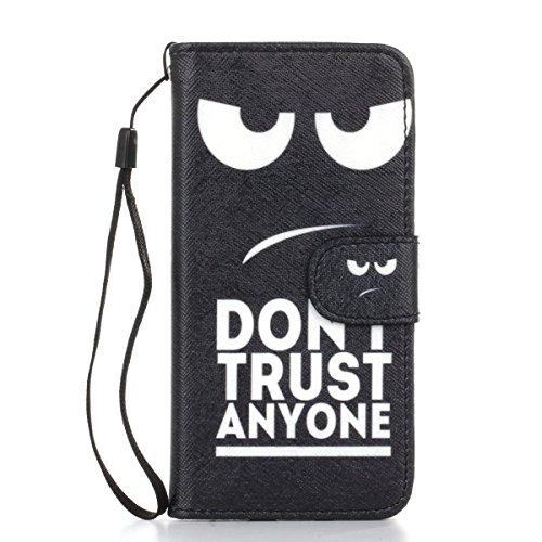 Gift_Source iPhone 6 hülle, iPhone 6S hülle, Brieftasche Ledertasche Bookstyle Schutzhülle Leder Flip case Etui for Apple iPhone 6S/6 4.7 inch [ Blaue und gelbe Sand ] E01-01-Don't trust anyone
