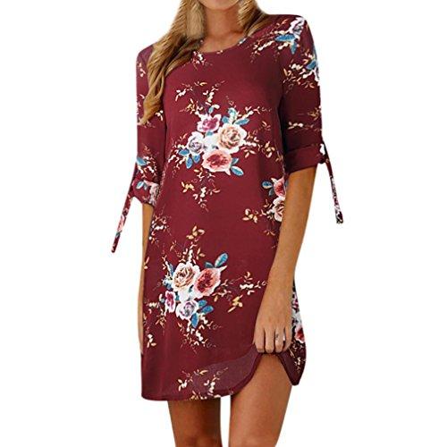 Tefamore Femmes Robe de cocktail décontractée à manches courtes bowknot imprimé floral (XXXXXL, Du vin)