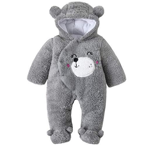 Baby mit Kapuze Strampler Winter Overall Flanell Outfits Jungen Mädchen Pyjama SäUgling Spielanzug Footies Outwear Grau 6-9 Monate (Winter-baby-footed Pyjamas)
