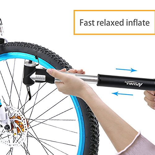 AMANKA Mini Fahrradpumpe 120PSI/8 Bar Teleskopische Luftpumpe Tragbare Rahmenpumpe aus Aluminium mit Halterung, Kompatibel Presta und Schrader für Camping, Biken, Luftballon - 5