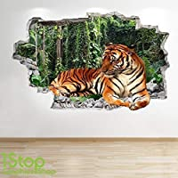 TIGER WALL STICKER 3D LOOK - BEDROOM LOUNGE NATURE ANIMAL WALL DECAL Z550