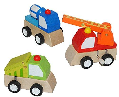 3 Stk. Aufziehauto aus Holz - Auto zum Aufziehen und Fahren - Holzauto Autos Feuerwehr LKW Kipper - Aufziehfahrzeug / Fahrzeug - für Kinder