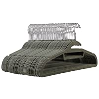 SONGMICS Set of 50 Velvet Clothes Hangers, Non-slip and Space Saving, Upgraded Suit Hanger, with 360° Swivel Chrome-plated Hook
