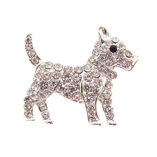 Brosche Boutique versilbert Kristall Scotty Hund Brosche/West Highland Terrier/Cairn Terrier -