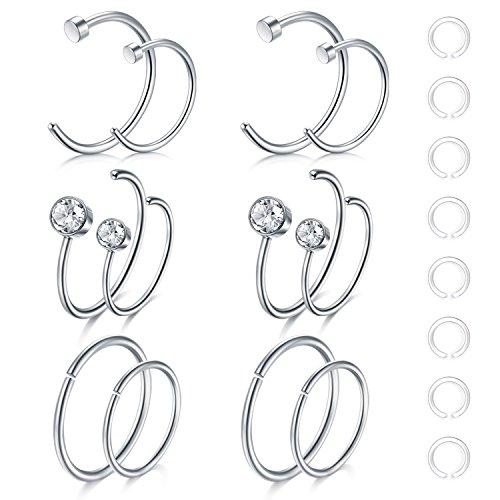 Zolure 12-16stk 20 Gauge Nasenpiercing Nasenring Hoop Piercing 316L Chirurgenstahl Piercing Set Schmuck Silber